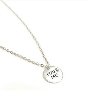 You & Me Charm Silver Tone Necklace